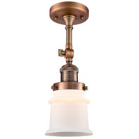 Innovations Lighting 201F-AC-G181S-LED Small Canton LED 6 inch Antique Copper Semi-Flush Mount Ceiling Light Franklin Restoration