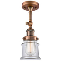 Innovations Lighting 201F-AC-G182S-LED Small Canton LED 6 inch Antique Copper Semi-Flush Mount Ceiling Light Franklin Restoration