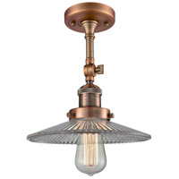 Innovations Lighting 201F-AC-G2-LED Halophane LED 9 inch Antique Copper Semi-Flush Mount Ceiling Light Franklin Restoration