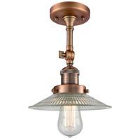 Innovations Lighting 201F-AC-G2 Halophane 1 Light 9 inch Antique Copper Semi-Flush Mount Ceiling Light Franklin Restoration