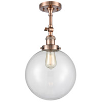 Innovations Lighting 201F-AC-G202-10-LED X-Large Beacon LED 10 inch Antique Copper Semi-Flush Mount Ceiling Light, Franklin Restoration