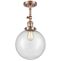 Innovations Lighting 201F-AC-G204-10-LED X-Large Beacon LED 10 inch Antique Copper Semi-Flush Mount Ceiling Light, Franklin Restoration