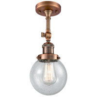 Innovations Lighting 201F-AC-G204-6 Beacon 1 Light 6 inch Antique Copper Semi-Flush Mount Ceiling Light Franklin Restoration