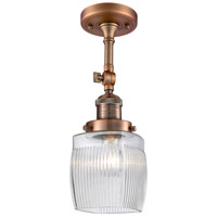 Innovations Lighting 201F-AC-G302-LED Colton LED 6 inch Antique Copper Semi-Flush Mount Ceiling Light, Franklin Restoration