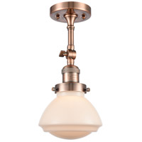 Innovations Lighting 201F-AC-G321-LED Olean LED 7 inch Antique Copper Semi-Flush Mount Ceiling Light, Franklin Restoration