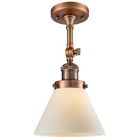 Innovations Lighting 201F-AC-G41-LED Large Cone LED 8 inch Antique Copper Semi-Flush Mount Ceiling Light, Franklin Restoration