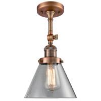 Innovations Lighting 201F-AC-G42-LED Large Cone LED 8 inch Antique Copper Semi-Flush Mount Ceiling Light