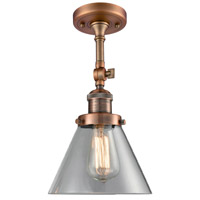 Innovations Lighting 201F-AC-G42-LED Large Cone LED 8 inch Antique Copper Semi-Flush Mount Ceiling Light, Franklin Restoration