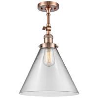 Innovations Lighting 201F-AC-G42-L-LED X-Large Cone LED 12 inch Antique Copper Semi-Flush Mount Ceiling Light Franklin Restoration