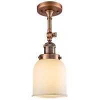Innovations Lighting 201F-AC-G51-LED Small Bell LED 5 inch Antique Copper Semi-Flush Mount Ceiling Light