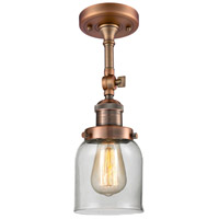 Innovations Lighting 201F-AC-G52-LED Small Bell LED 5 inch Antique Copper Semi-Flush Mount Ceiling Light
