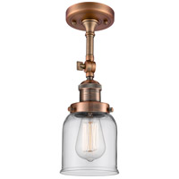 Innovations Lighting 201F-AC-G52-LED Small Bell LED 5 inch Antique Copper Semi-Flush Mount Ceiling Light, Franklin Restoration