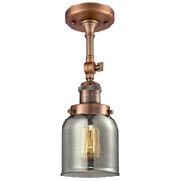Innovations Lighting 201F-AC-G53-LED Small Bell LED 5 inch Antique Copper Semi-Flush Mount Ceiling Light