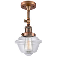 Innovations Lighting 201F-AC-G532-LED Small Oxford LED 8 inch Antique Copper Semi-Flush Mount Ceiling Light, Franklin Restoration