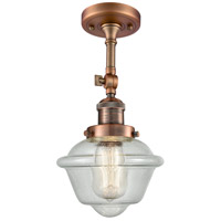 Innovations Lighting 201F-AC-G534-LED Small Oxford LED 8 inch Antique Copper Semi-Flush Mount Ceiling Light, Franklin Restoration