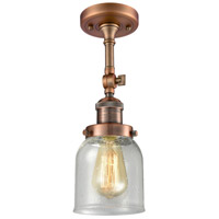 Innovations Lighting 201F-AC-G54-LED Small Bell LED 5 inch Antique Copper Semi-Flush Mount Ceiling Light, Franklin Restoration