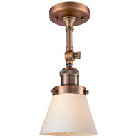 Innovations Lighting 201F-AC-G61-LED Small Cone LED 6 inch Antique Copper Semi-Flush Mount Ceiling Light