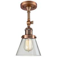 Innovations Lighting 201F-AC-G62-LED Small Cone LED 6 inch Antique Copper Semi-Flush Mount Ceiling Light Franklin Restoration