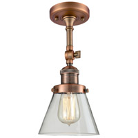 Innovations Lighting 201F-AC-G62-LED Small Cone LED 6 inch Antique Copper Semi-Flush Mount Ceiling Light, Franklin Restoration