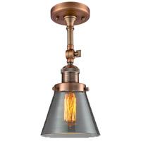 Innovations Lighting 201F-AC-G63-LED Small Cone LED 6 inch Antique Copper Semi-Flush Mount Ceiling Light Franklin Restoration