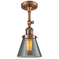 Innovations Lighting 201F-AC-G63-LED Small Cone LED 6 inch Antique Copper Semi-Flush Mount Ceiling Light, Franklin Restoration