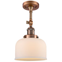 Innovations Lighting 201F-AC-G71-LED Large Bell LED 8 inch Antique Copper Semi-Flush Mount Ceiling Light