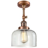 Innovations Lighting 201F-AC-G72-LED Large Bell LED 8 inch Antique Copper Semi-Flush Mount Ceiling Light Franklin Restoration