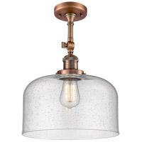 Innovations Lighting 201F-AC-G74-L-LED X-Large Bell LED 12 inch Antique Copper Semi-Flush Mount Ceiling Light Franklin Restoration