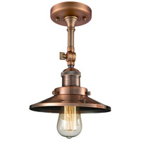 Innovations Lighting 201F-AC-M3-LED Railroad LED 8 inch Antique Copper Semi-Flush Mount Ceiling Light Franklin Restoration