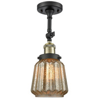 Chatham 1 Light 6 inch Black Antique Brass Semi-Flush Mount Ceiling Light