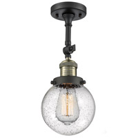 Innovations Lighting 201F-BAB-G204-6-LED Beacon LED 6 inch Black Antique Brass Semi-Flush Mount Ceiling Light Franklin Restoration
