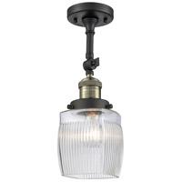 Innovations Lighting 201F-BAB-G302 Colton 1 Light 6 inch Black Antique Brass Semi-Flush Mount Ceiling Light, Franklin Restoration