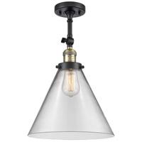 Innovations Lighting 201F-BAB-G42-L-LED X-Large Cone LED 12 inch Black Antique Brass Semi-Flush Mount Ceiling Light Franklin Restoration
