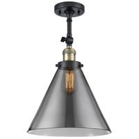 Innovations Lighting 201F-BAB-G43-L-LED X-Large Cone LED 12 inch Black Antique Brass Semi-Flush Mount Ceiling Light Franklin Restoration