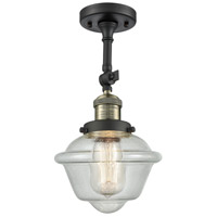 Innovations Lighting 201F-BAB-G534 Small Oxford 1 Light 8 inch Black Antique Brass Semi-Flush Mount Ceiling Light, Franklin Restoration