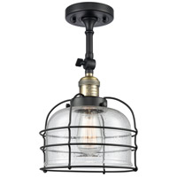 Innovations Lighting 201F-BAB-G74-CE Large Bell Cage 1 Light 8 inch Black Antique Brass Semi-Flush Mount Ceiling Light Franklin Restoration