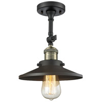 Innovations Lighting 201F-BAB-M6-LED Railroad LED 8 inch Black Antique Brass Semi-Flush Mount Ceiling Light, Franklin Restoration photo thumbnail