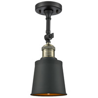 Innovations Lighting 201F-BAB-M9-AB-LED Addison LED 5 inch Black Antique Brass Semi-Flush Mount Ceiling Light Franklin Restoration
