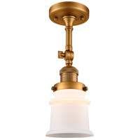 Innovations Lighting 201F-BB-G181S-LED Small Canton LED 6 inch Brushed Brass Semi-Flush Mount Ceiling Light Franklin Restoration