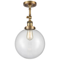Innovations Lighting 201F-BB-G202-10-LED X-Large Beacon LED 10 inch Brushed Brass Semi-Flush Mount Ceiling Light Franklin Restoration