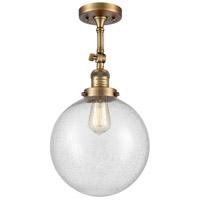 Innovations Lighting 201F-BB-G204-10 X-Large Beacon 1 Light 10 inch Brushed Brass Semi-Flush Mount Ceiling Light, Franklin Restoration