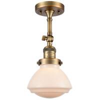Innovations Lighting 201F-BB-G321-LED Olean LED 7 inch Brushed Brass Semi-Flush Mount Ceiling Light Franklin Restoration