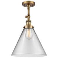 Innovations Lighting 201F-BB-G42-L-LED X-Large Cone LED 12 inch Brushed Brass Semi-Flush Mount Ceiling Light Franklin Restoration
