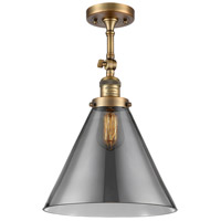 Innovations Lighting 201F-BB-G43-L-LED X-Large Cone LED 12 inch Brushed Brass Semi-Flush Mount Ceiling Light Franklin Restoration