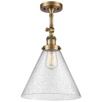 Innovations Lighting 201F-BB-G44-L-LED X-Large Cone LED 12 inch Brushed Brass Semi-Flush Mount Ceiling Light Franklin Restoration