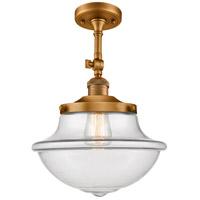 Innovations Lighting 201F-BB-G542 Large Oxford 1 Light 12 inch Brushed Brass Semi-Flush Mount Ceiling Light Franklin Restoration