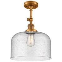 Innovations Lighting 201F-BB-G74-L-LED X-Large Bell LED 12 inch Brushed Brass Semi-Flush Mount Ceiling Light Franklin Restoration