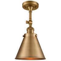 Innovations Lighting 201F-BB-M13-BB Appalachian 1 Light 8 inch Brushed Brass Semi-Flush Mount Ceiling Light Franklin Restoration
