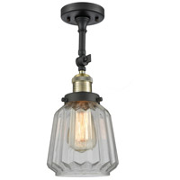 Innovations Lighting 201F-BBB-G142-LED Chatham LED 6 inch Black Brushed Brass Semi-Flush Mount Ceiling Light