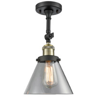 Innovations Lighting 201F-BBB-G42 Signature 1 Light 8 inch Black and Brushed Brass Semi-Flush Mount Ceiling Light, Large, Cone photo thumbnail